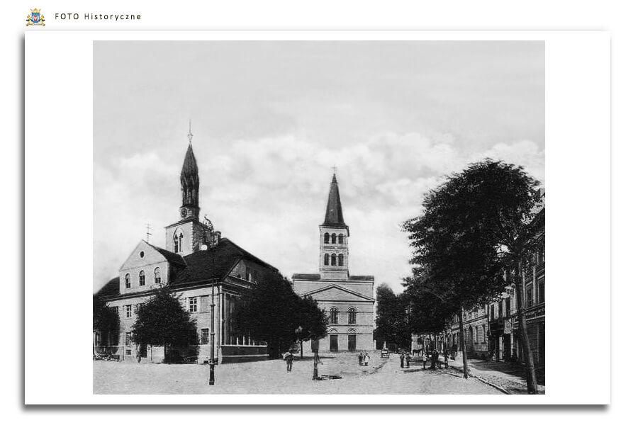 Meseritz - Międzyrzecz - Ratusz i Kościół - po prawej budynki zostały wyburzone - obecnie miejskie Planty