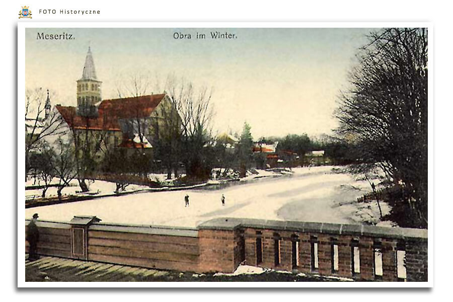 Meseritz - Międzyrzecz - Rzeka Obra zimą - widokówka z 1918 roku