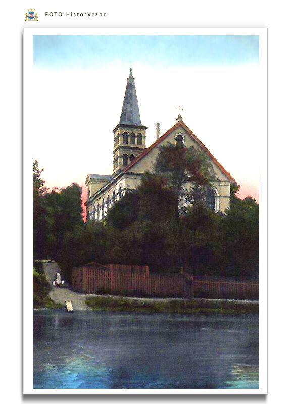 Meseritz - Międzyrzecz - Kościół pw. św. Wojciecha od strony rzeki Obry