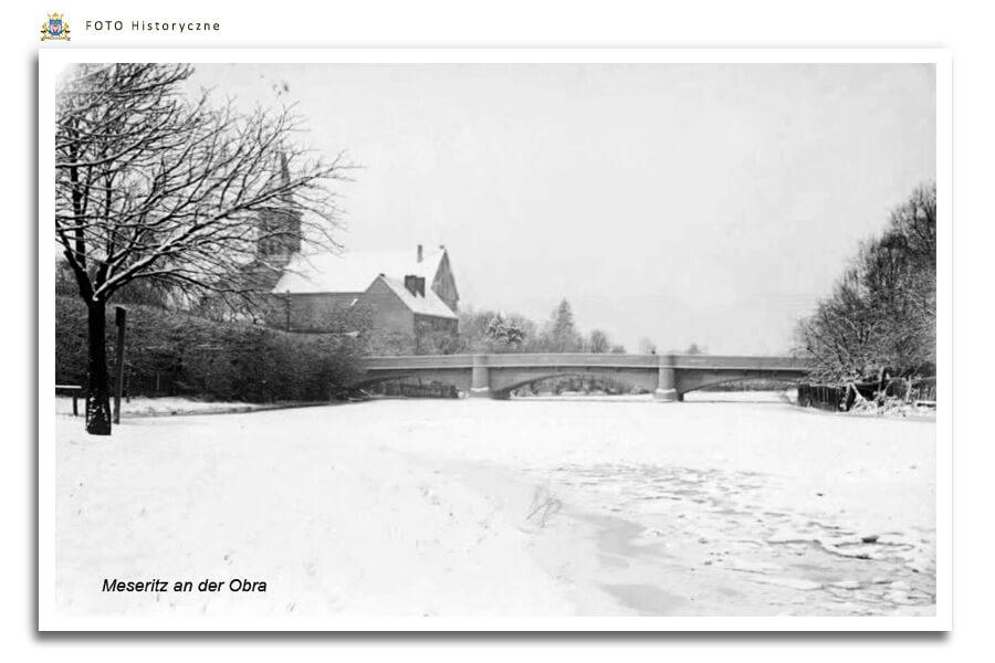 Meseritz - Międzyrzecz - Most przez Obrę zimą - lata 40-te ubiegłego wieku
