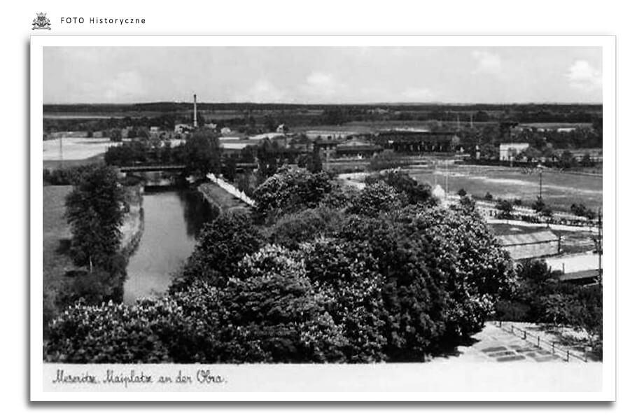 Meseritz - Międzyrzecz - Międzyrzecz - rzeka Obra - zdjęcie zrobione przed wybudowaniem Stadionu Miejskiego ,prace budowlane rozpoczęto w połowie lat 30-tych, wiosną 1936 roku stadion był już ukończony.