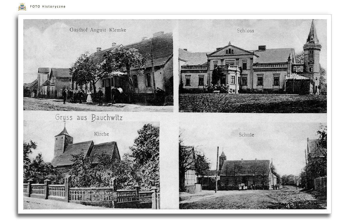 Bukowiec Widokowka z 1910 roku - gospoda, pałac, dawny kościół św. Marcina i szkoła.