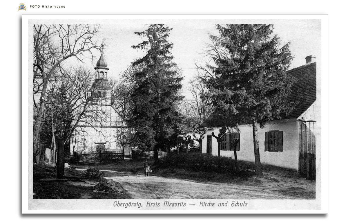 Gorzyca - Ober Görzig Szkola i Kościół Najświętszego Serca Pana Jezusa w 1917 roku.