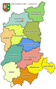 Mapa Województwa lubuskiego