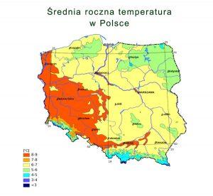 Średnia roczna temperatura w Polsce