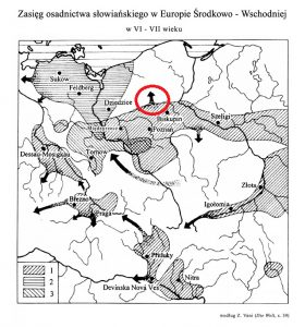 Zasięg osadnictwa słowiańskiego w Europie Środkowo-Wschodniej w VI - VII wieku
