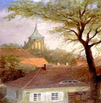 Panorama miasta - widok na wieżę kościoła pw. św. Wojciecha