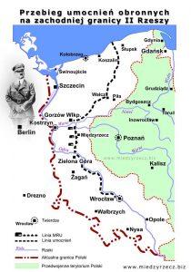 Przebieg umocnień obronnych na zachodniej granicy II Rzeszy