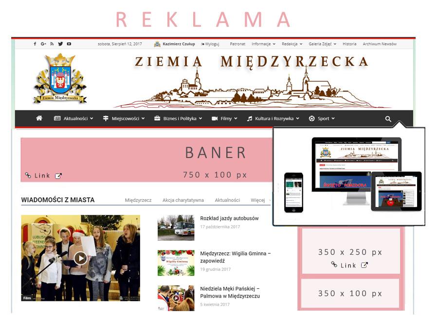 Reklama na stronach Portalu Ziemia Międzyrzecka