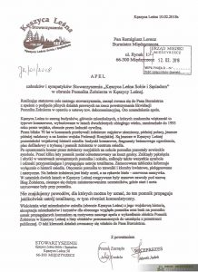 Apel Stowarzyszenia Kęszyca Leśna Sobie i Sąsiadom