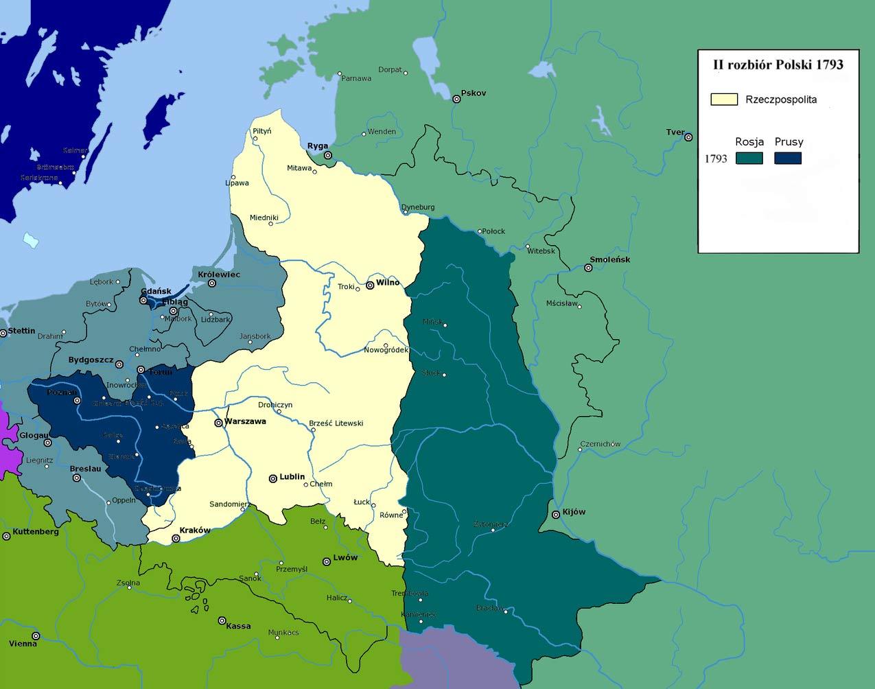 II Rozbiór Polski - mapa