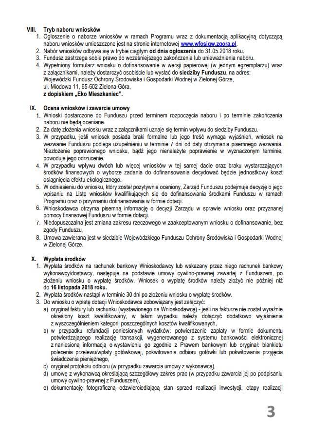 Regulamin programu, pn. Eko Mieszkaniec – Dotacja na ograniczenie niskiej emisji
