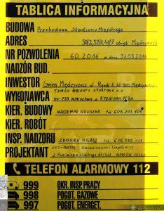 Tablica informacyjna budowy