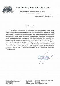 Oświadczenie Prezesa Zarządu mgr Kamila Jakubowskiego