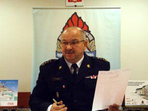 st. bryg. Marek Harkot - Komendant Powiatowej Państwowej Straży Pożarnej w Międzyrzeczu