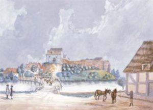 Międzyrzecki zamek na dawnej akwareli