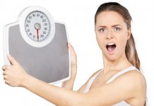 Portrait Of An Surprised Woman Holding A Weight Scale
