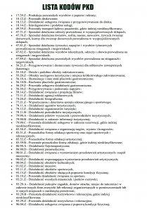 Lista KodÓw Pkd