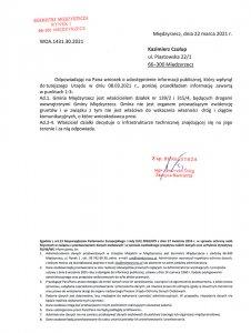 pismo odpowiedz od burmistrza
